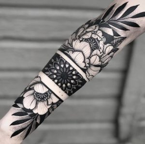 Floral Hand band tattoos for men