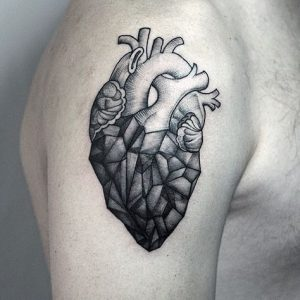 black ink heart tattoo