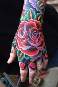 colourful floral design for hand