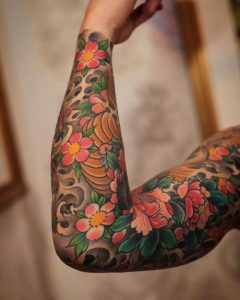 full hand floral tattoo for men
