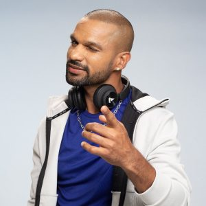 Shikhar Dhawan Hairstyle with headphones